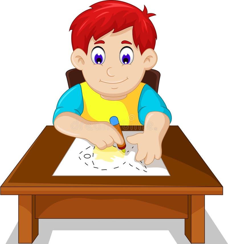 逗人喜爱的男孩儿童动画片图画鱼 皇族释放例证