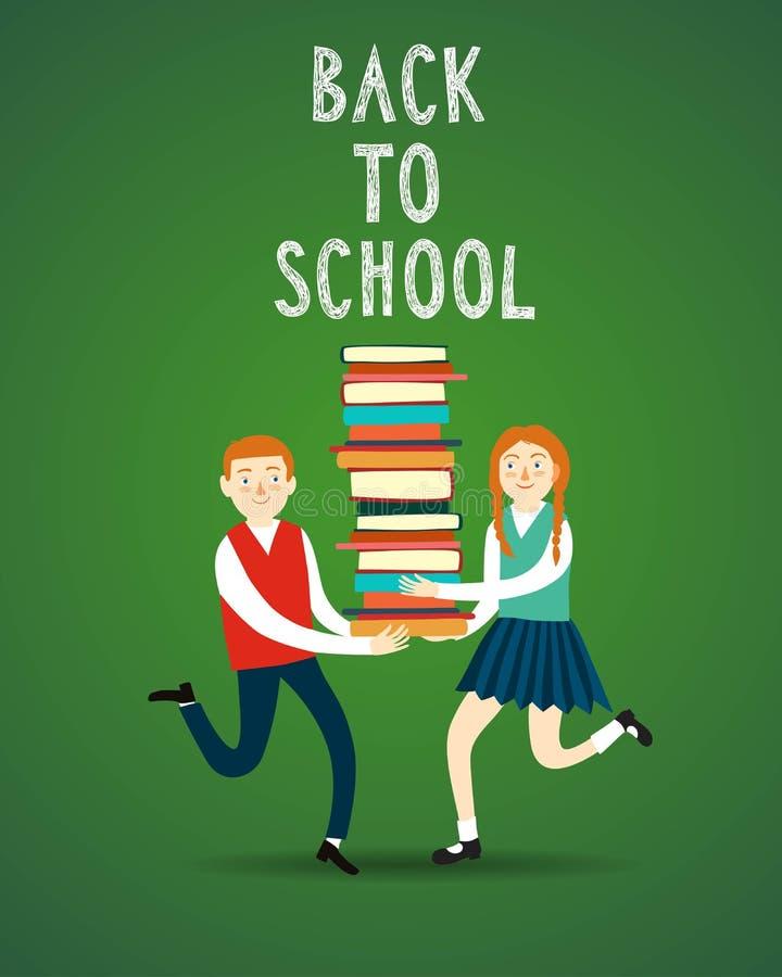逗人喜爱的男孩和女孩有书的 皇族释放例证