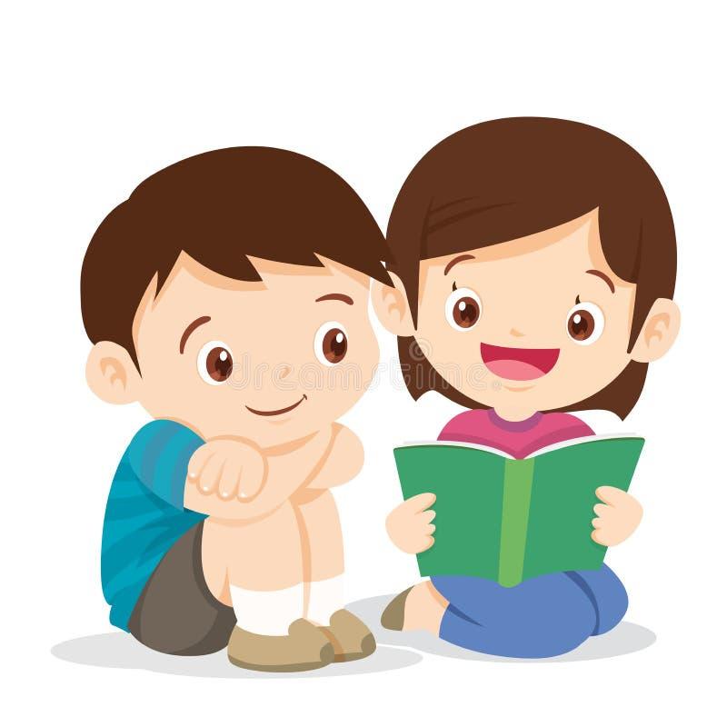 逗人喜爱的男孩和女孩阅读书 向量例证