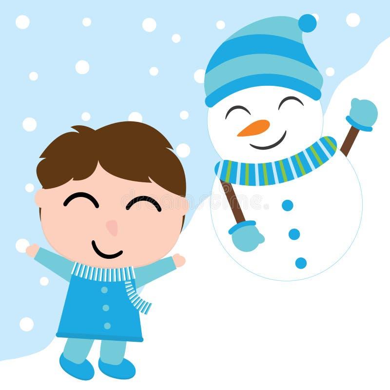 逗人喜爱的男孩和雪人雪背景的导航纸盒Xmas明信片的,墙纸,贺卡 向量例证