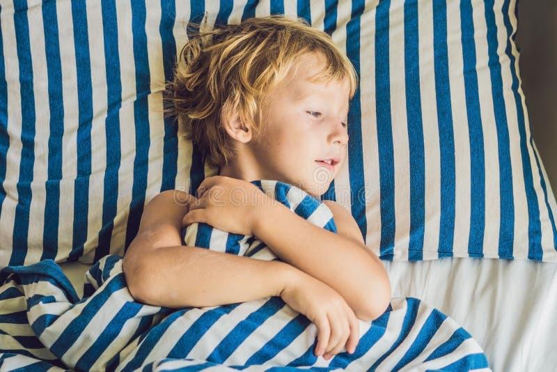 逗人喜爱的男孩在他的床上醒了 儿童睡眠概念 库存图片