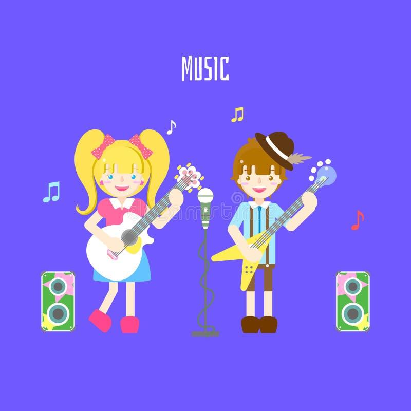 逗人喜爱的男孩藏品低音和女孩有吉他、话筒、报告人和音乐笔记协调的乐曲节日的在蓝色背景中 皇族释放例证