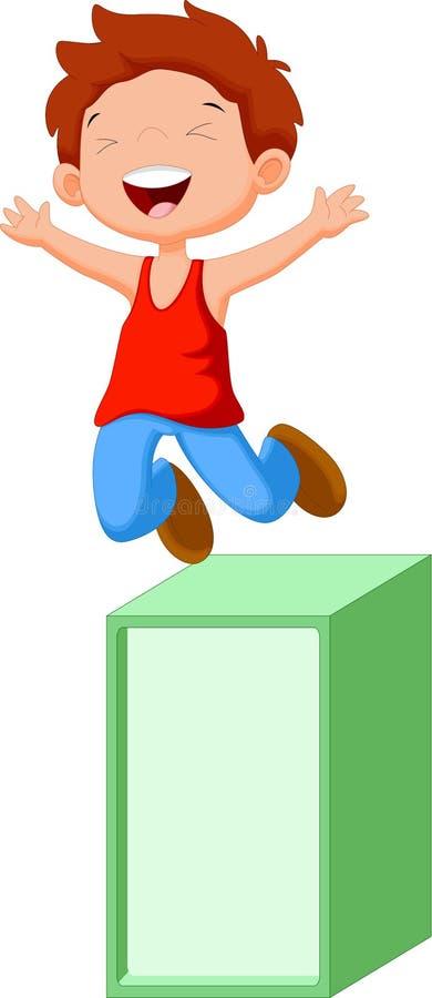 逗人喜爱的男孩跳出箱子 向量例证