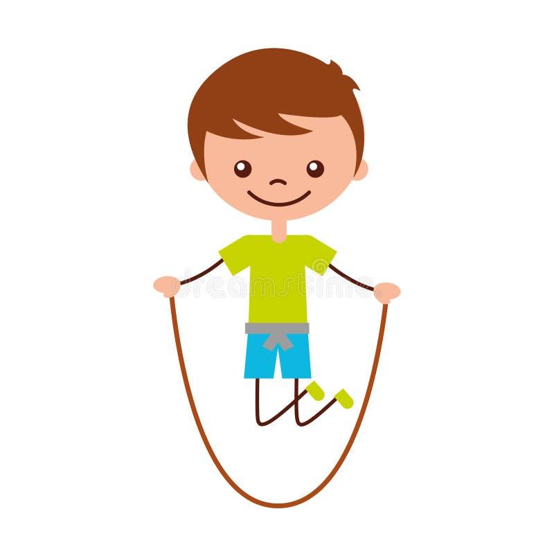 逗人喜爱的男孩跳绳字符象 皇族释放例证