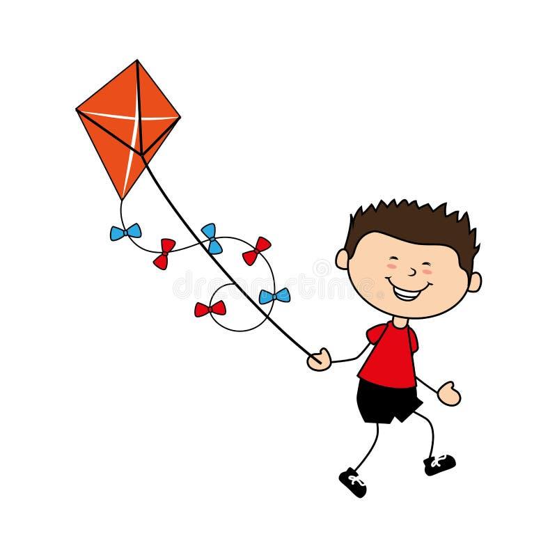 逗人喜爱的男孩飞行风筝具体化字符 皇族释放例证