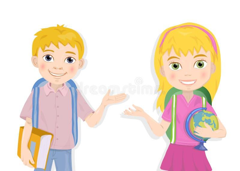 逗人喜爱的男小学生和女小学生问候画象  库存例证