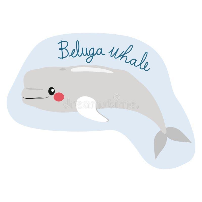 逗人喜爱的白海豚鲸鱼 库存例证