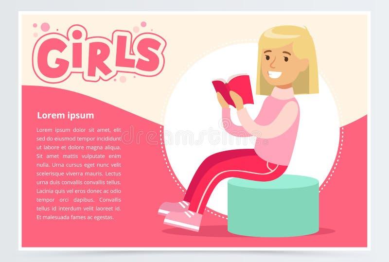 逗人喜爱的白肤金发的女孩开会和阅读书、女孩横幅平的传染媒介元素网站的或流动app 库存例证