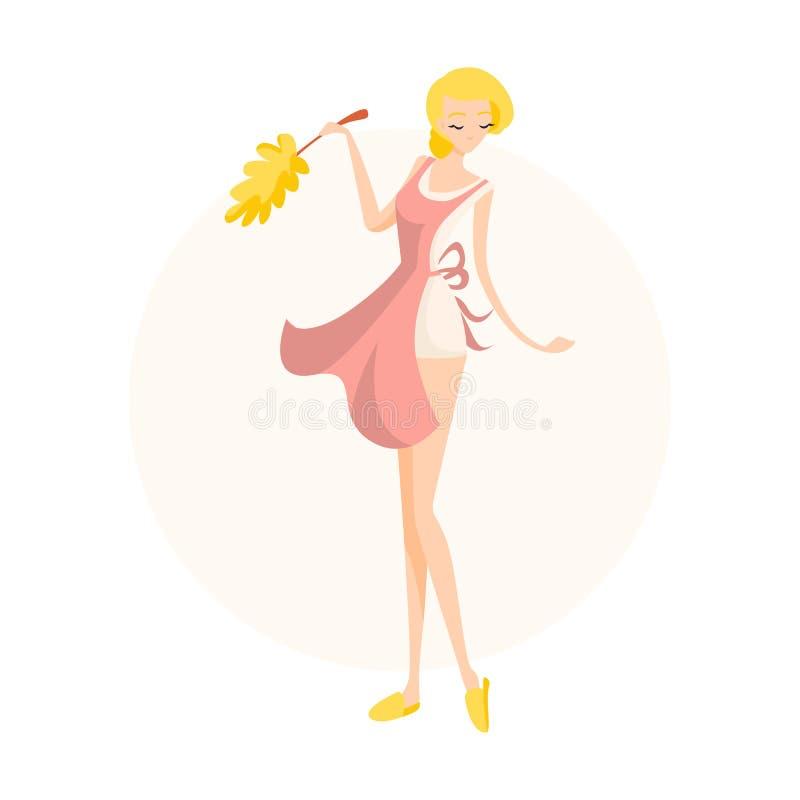 逗人喜爱的白肤金发的女孩洗涤与一个拖把的地板在一条桃红色围裙 向量例证