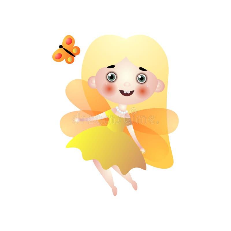 逗人喜爱的白肤金发的有金黄翼的长发神仙的女孩 皇族释放例证