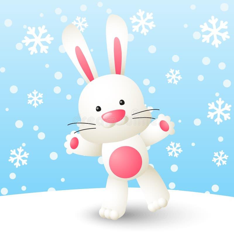逗人喜爱的白色兔子 向量例证