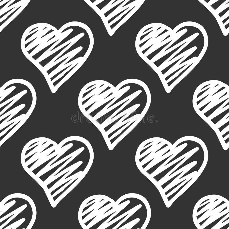 逗人喜爱的白色在黑背景的心脏无缝的样式 情人节背景 库存例证