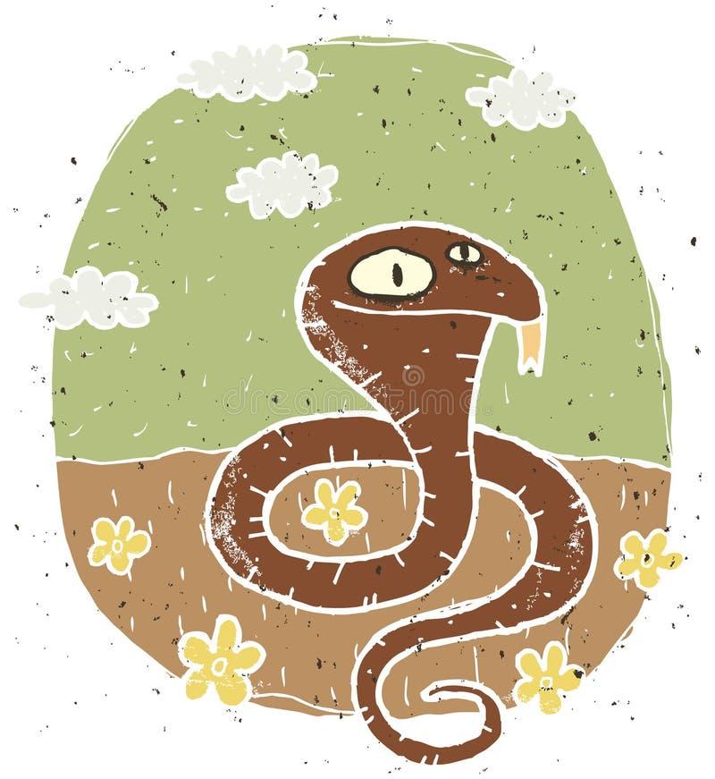 逗人喜爱的眼镜蛇的手拉的难看的东西例证在背景的与 皇族释放例证