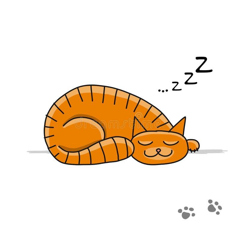 逗人喜爱的睡觉猫,您的设计的剪影 皇族释放例证
