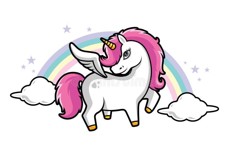 逗人喜爱的矮小的不可思议的桃红色独角兽、桃红色头发、彩虹和星,云彩导航孩子的例证 库存例证