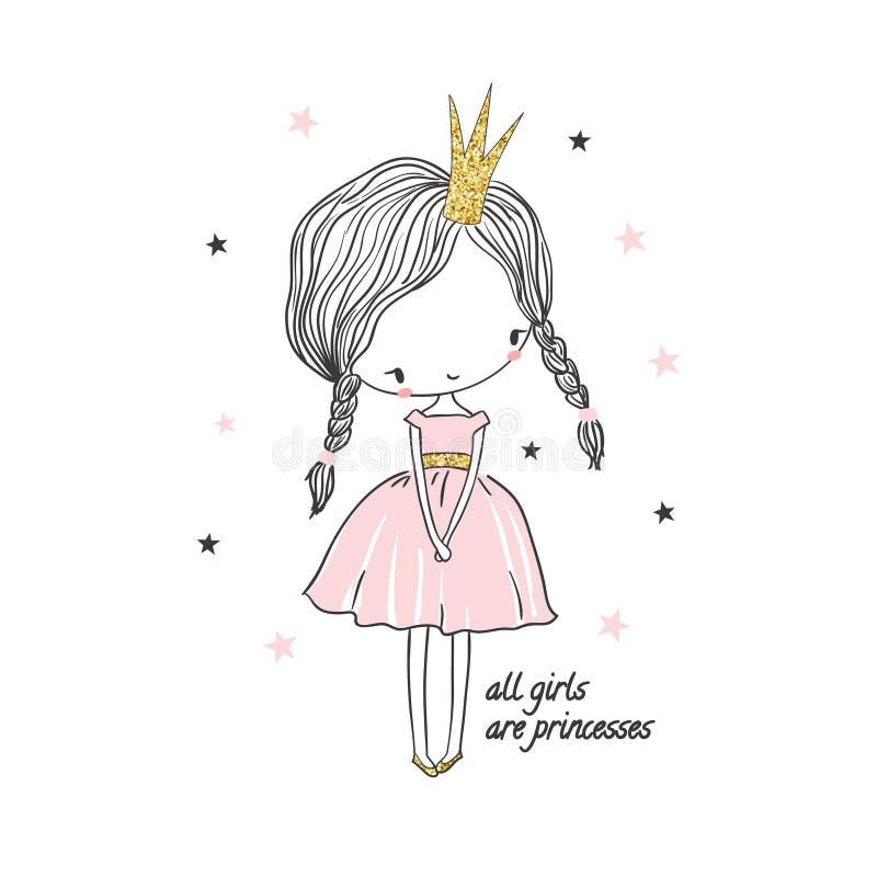 逗人喜爱的矮小的公主女孩 孩子的时尚例证 库存例证