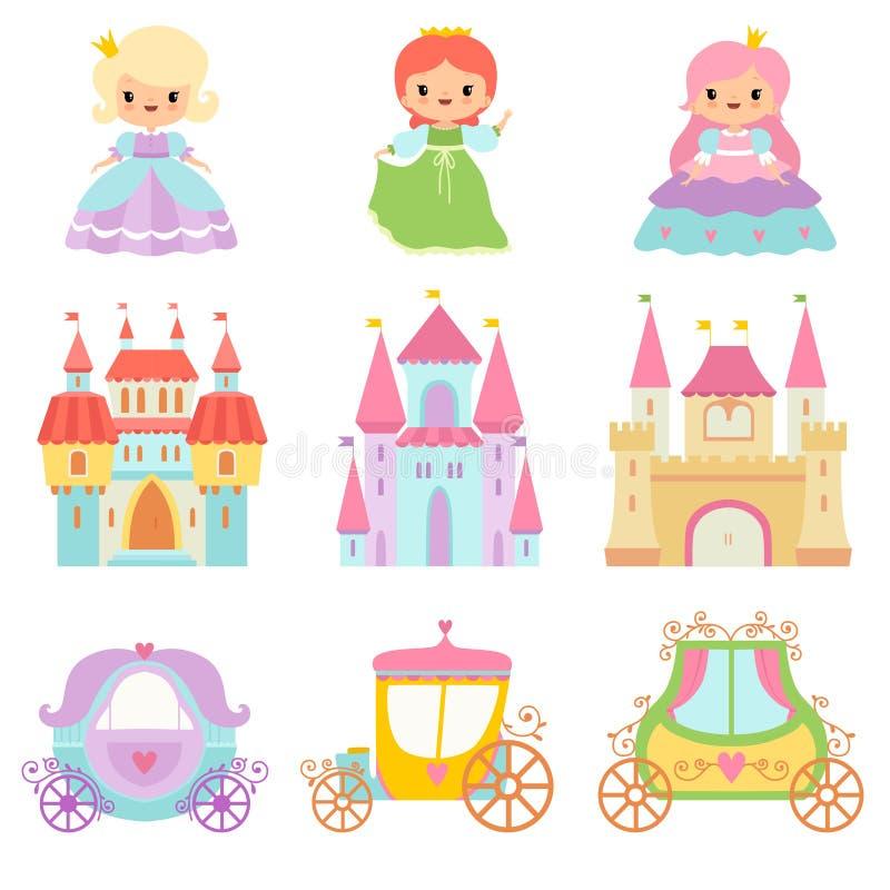 逗人喜爱的矮小的公主,不可思议的城堡,童话当中支架动画片传染媒介例证的汇集 皇族释放例证