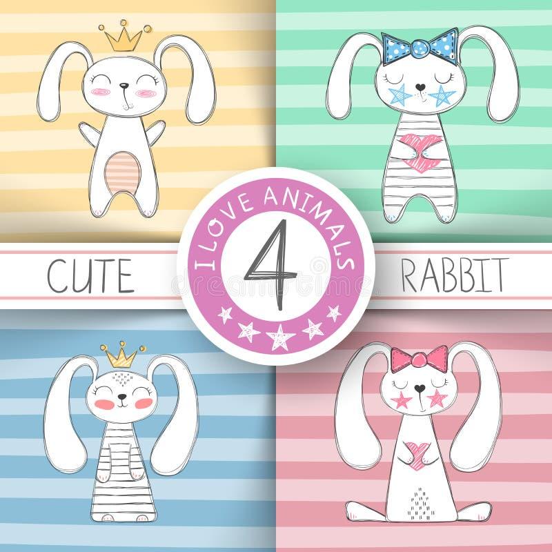 逗人喜爱的矮小的公主-动画片兔子 皇族释放例证