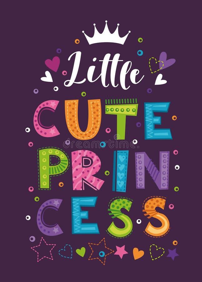 逗人喜爱的矮小的公主 时髦T恤杉设计的美丽的少女印刷品 库存例证