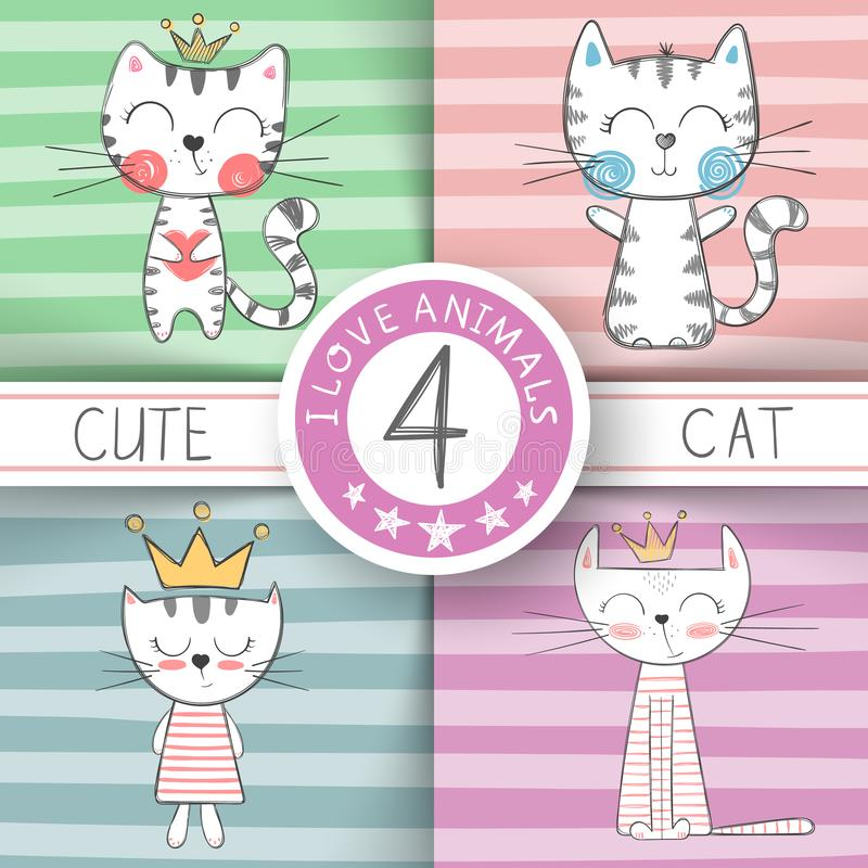 逗人喜爱的矮小的公主-猫字符 皇族释放例证