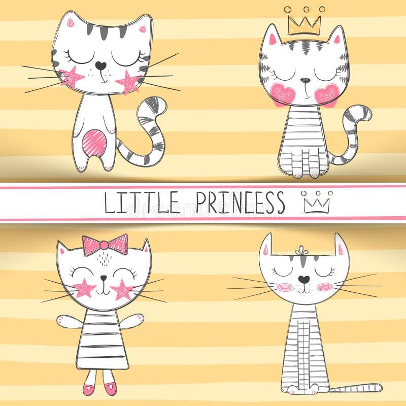 逗人喜爱的矮小的公主-猫字符 向量例证