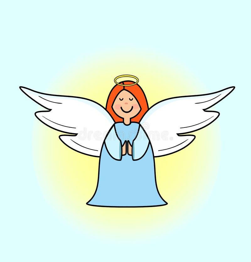 逗人喜爱的矮小的天使女孩,动画片艺术-传染媒介,传染媒介例证 库存例证