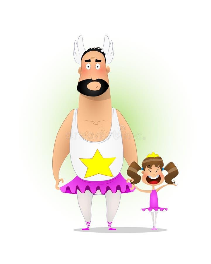 逗人喜爱的矮小的女儿和她的爸爸裙子的 库存例证