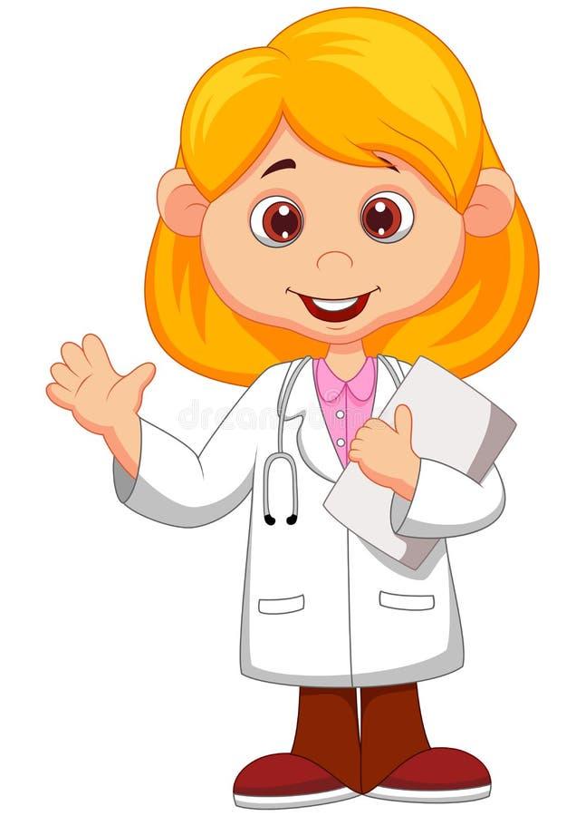 逗人喜爱的矮小的女性医生动画片挥动的手 向量例证