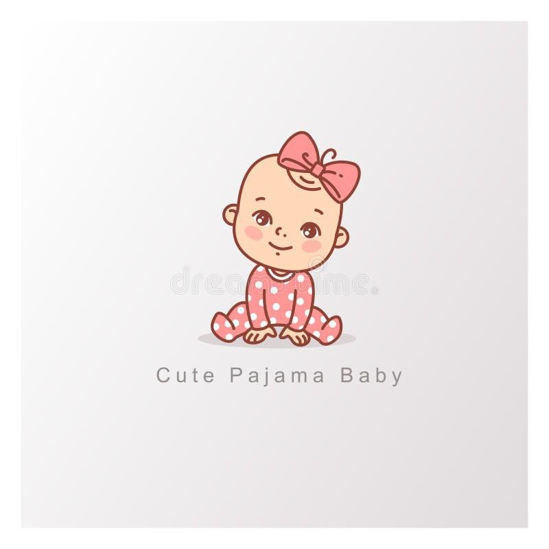 逗人喜爱的矮小的婴孩被隔绝 设计商标模板 皇族释放例证
