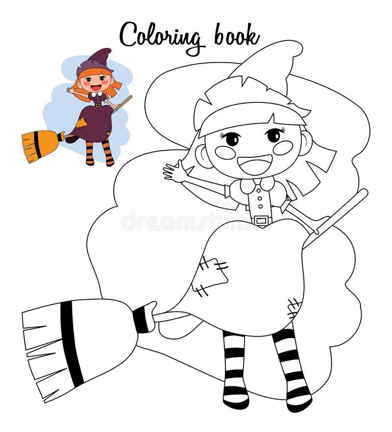 逗人喜爱的矮小的巫婆女孩坐笤帚 书五颜六色的彩图例证 库存例证