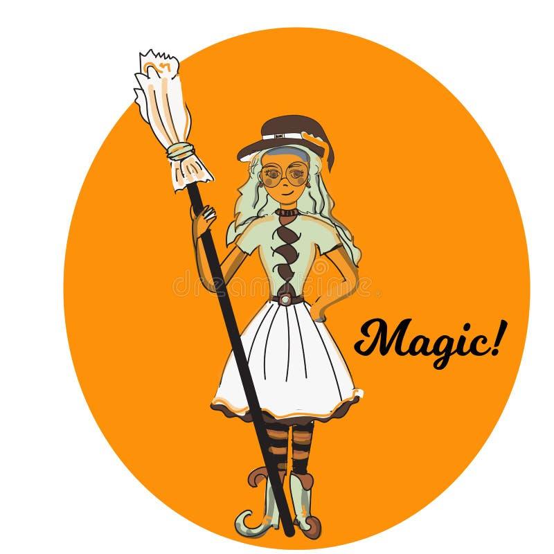逗人喜爱的矮小的巫婆,动画片不可思议的万圣夜女孩,字符服装帽子,例证 库存例证