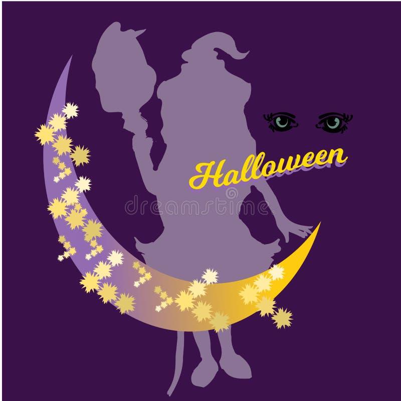 逗人喜爱的矮小的巫婆,动画片不可思议的万圣夜女孩,字符服装帽子,例证 向量例证