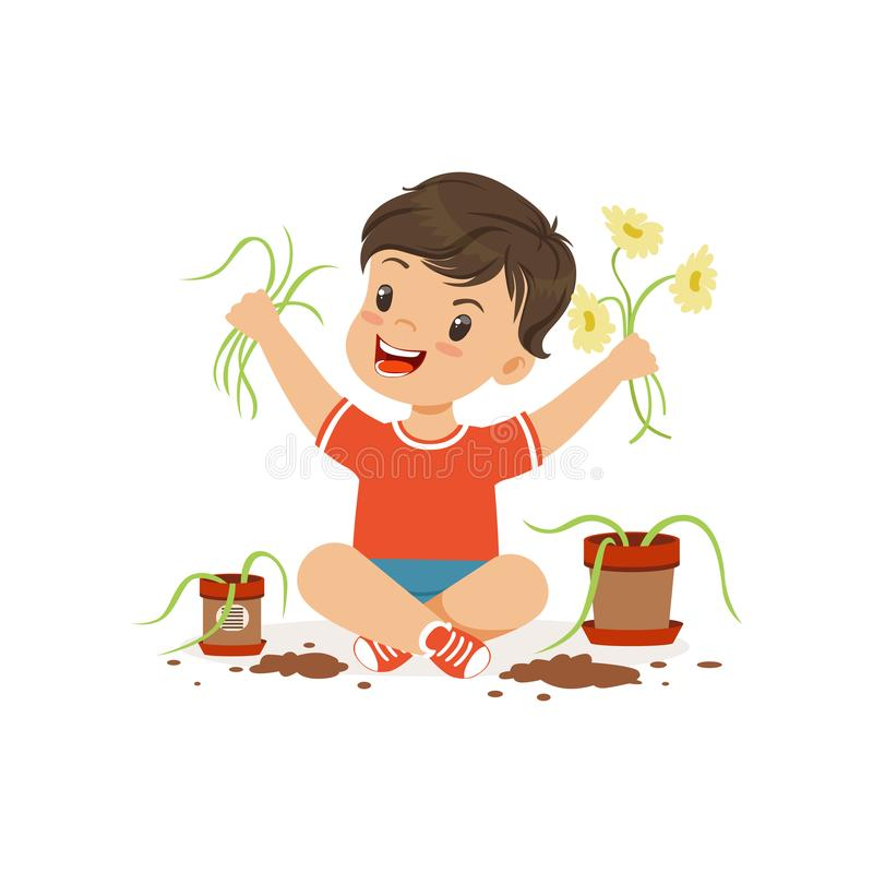 逗人喜爱的矮小的恶霸男孩坐地板和撕毁的花从罐,流氓快乐的小孩,坏孩子 向量例证