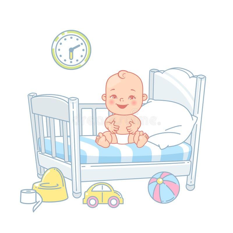 逗人喜爱的矮小的愉快的婴孩在床上坐 皇族释放例证