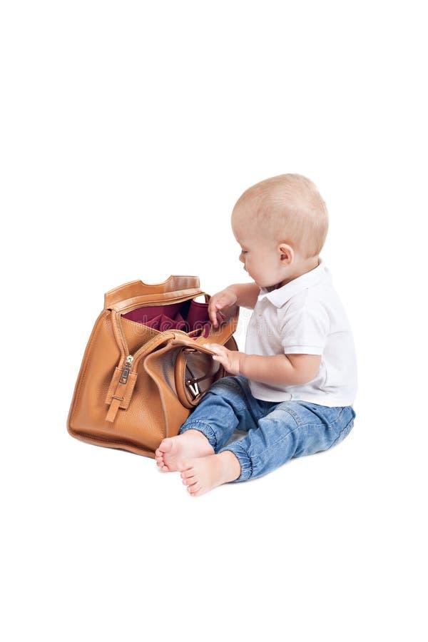 逗人喜爱的矮小的男婴 免版税库存图片