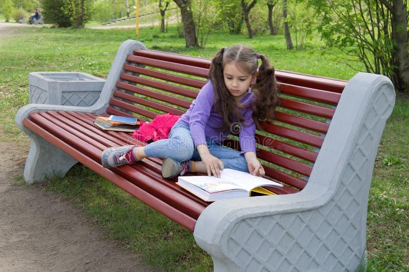 逗人喜爱的矮小的白种人女孩阅读书坐长凳 免版税图库摄影