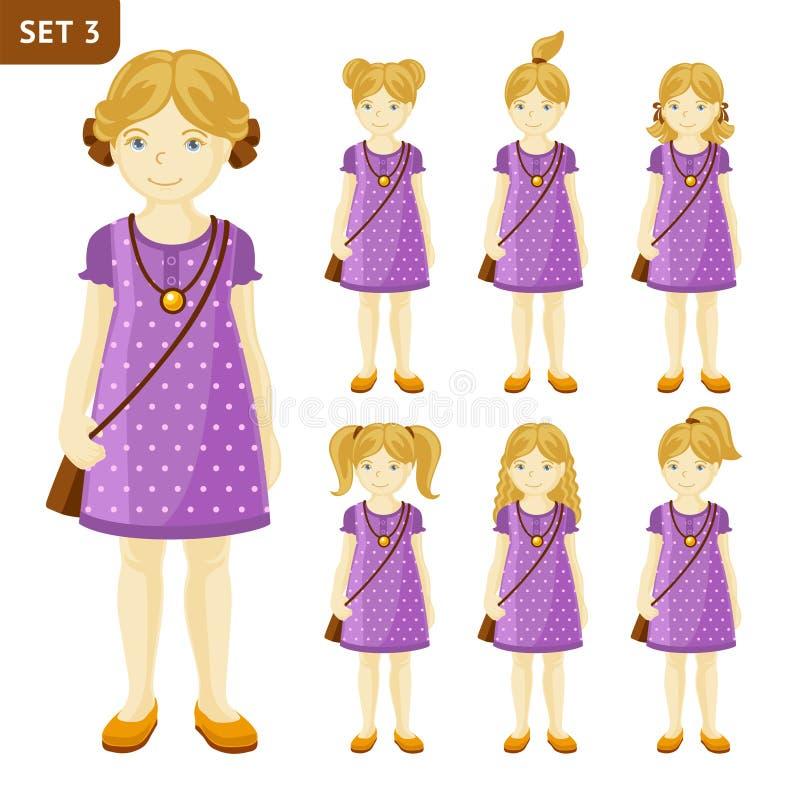 逗人喜爱的矮小的白肤金发的女孩的汇集用不同的发型的 皇族释放例证