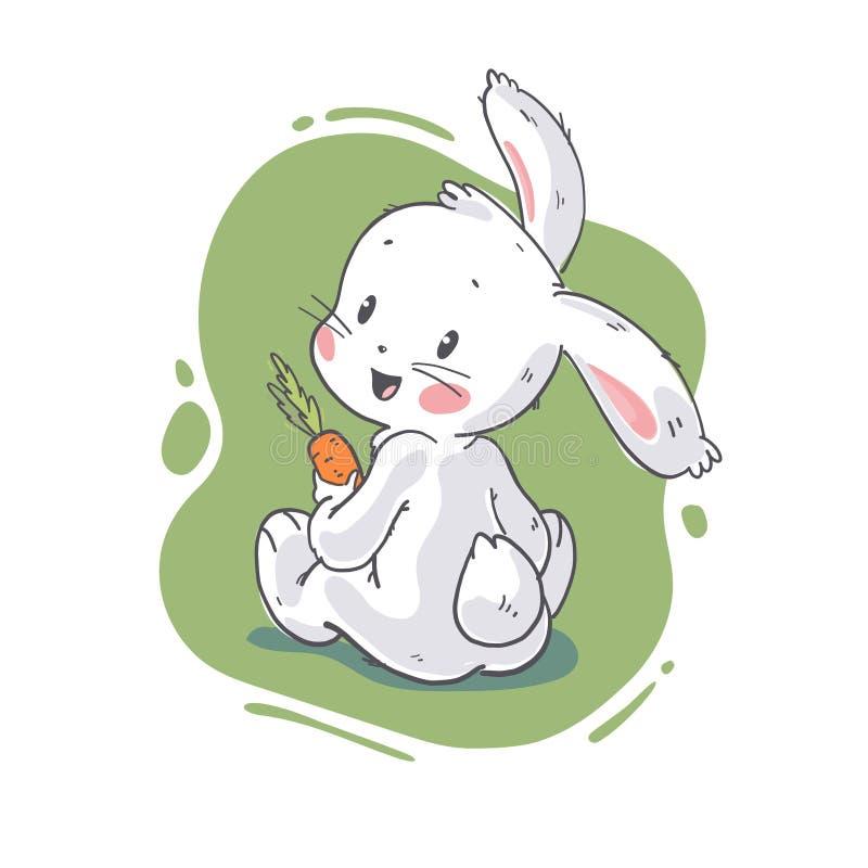 逗人喜爱的矮小的白色婴孩兔宝宝字符的传染媒介平的例证与秋叶花束开会的 皇族释放例证