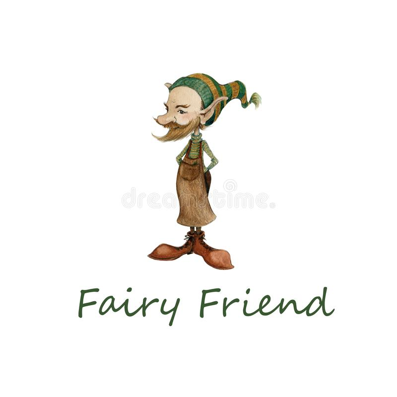 逗人喜爱的矮小的神仙的地精的手拉的水彩例证在鞋匠的围裙和一个滑稽的盖帽的 库存例证