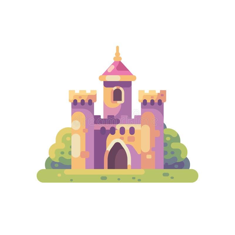 逗人喜爱的矮小的童话城堡平的例证 库存例证