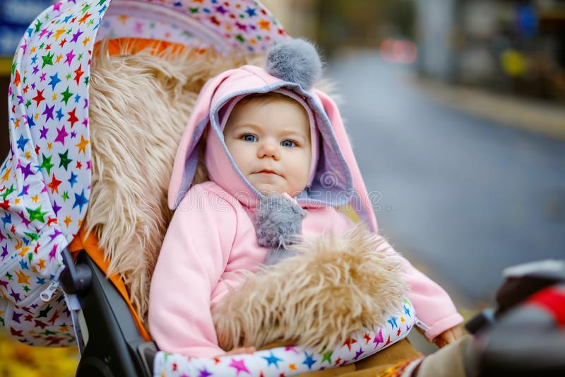 逗人喜爱的矮小的美丽的女婴在摇篮车或婴儿推车坐秋天天 衣服暖和的愉快的微笑的孩子 免版税库存照片