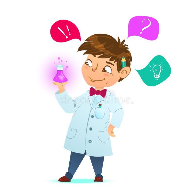 逗人喜爱的矮小的聪明的男孩 拿着试管,举行化学制品实验的科学家 漫画人物,吉祥人 皇族释放例证