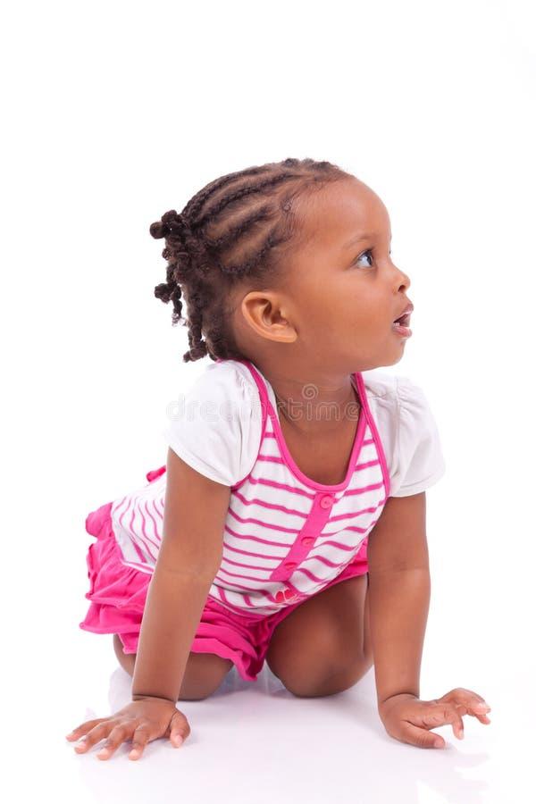 逗人喜爱的矮小的非裔美国人的女孩-黑人孩子 库存照片