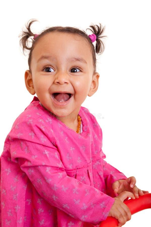 逗人喜爱的矮小的非裔美国人的女婴黑人 免版税库存照片