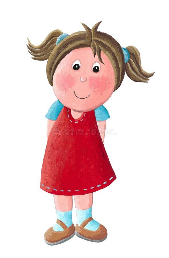 逗人喜爱的礼服女孩红色的一点 库存例证