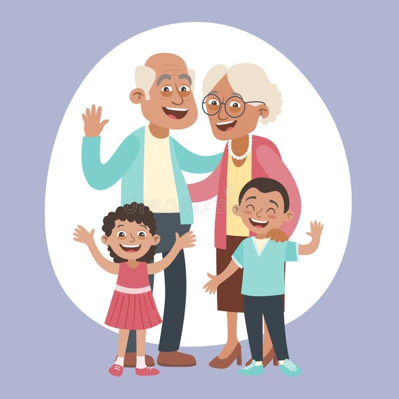 逗人喜爱的祖父母和孙画象 皇族释放例证
