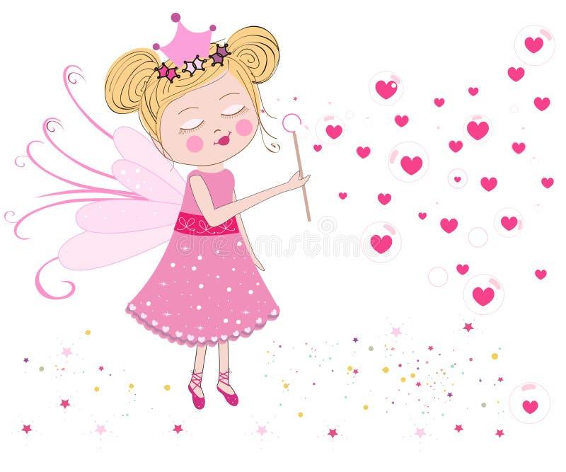 逗人喜爱的神仙吹肥皂泡 心脏气球泡影 情人节贺卡传染媒介 库存例证