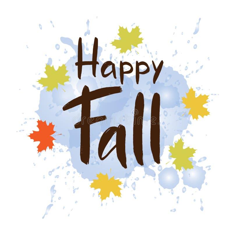 逗人喜爱的秋天印刷术愉快的秋天用水飞溅,并且槭树离开  皇族释放例证