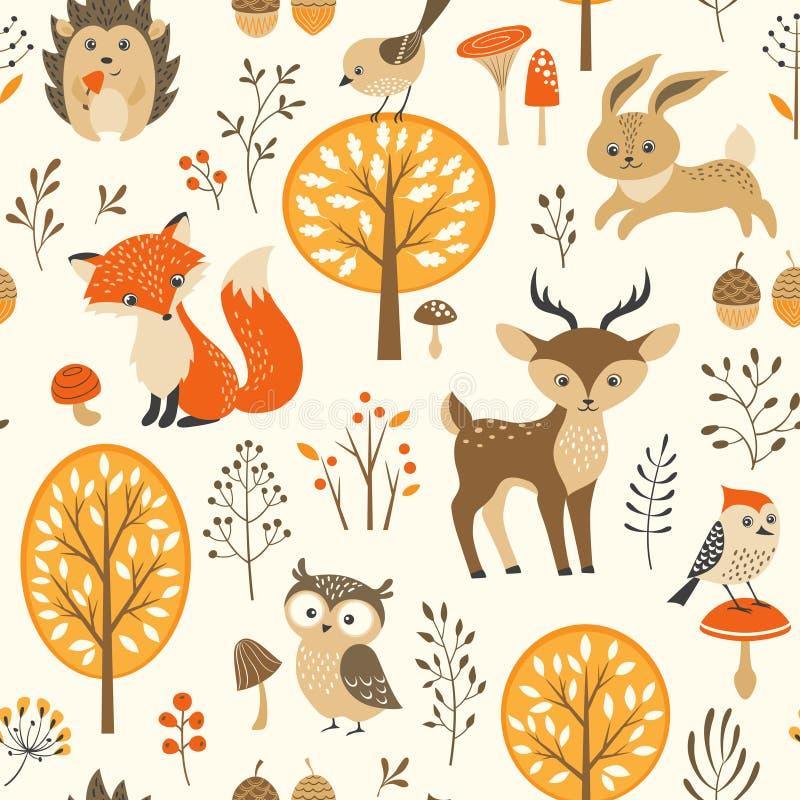 逗人喜爱的秋天森林样式 向量例证