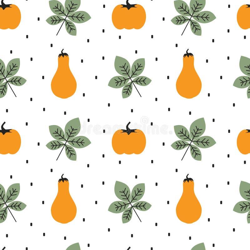 逗人喜爱的秋天秋天无缝的传染媒介样式背景例证用南瓜和叶子 库存例证